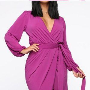 Plus size magenta  wrap dress